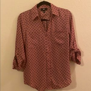 Button up mauve and black polka dots